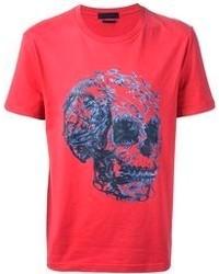 Красная футболка с круглым вырезом с принтом