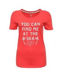 Женская красная футболка с круглым вырезом с принтом от Billabong