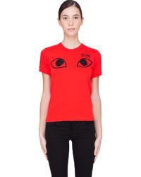 Женская красная футболка с круглым вырезом с принтом от Comme des Garcons