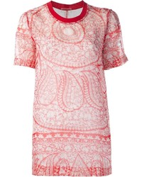 Женская красная футболка с круглым вырезом с принтом от Giambattista Valli