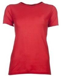 Красная футболка с круглым вырезом