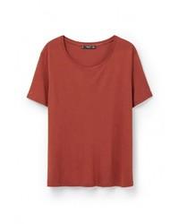Женская красная футболка с круглым вырезом от Mango