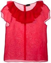 Красная шелковая блуза с коротким рукавом от Fendi