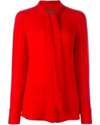 Красная шелковая блузка с длинным рукавом от Alexander McQueen