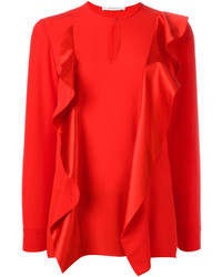 Красная шелковая блузка с длинным рукавом от Givenchy