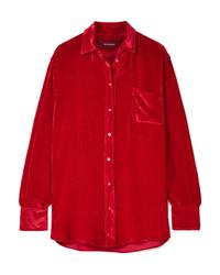 Красная шелковая классическая рубашка