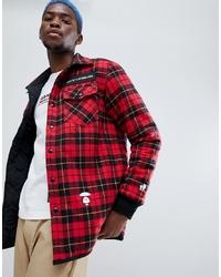 Красная шерстяная куртка-рубашка в клетку