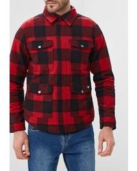 Мужская красная шерстяная куртка-рубашка в клетку от Dickies