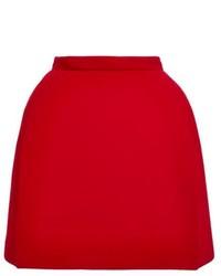 Красная шерстяная мини-юбка