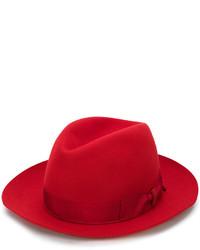 Мужская красная шерстяная шляпа от Borsalino