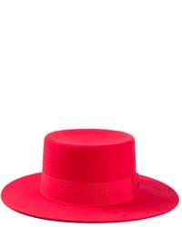 Женская красная шерстяная шляпа от Saint Laurent