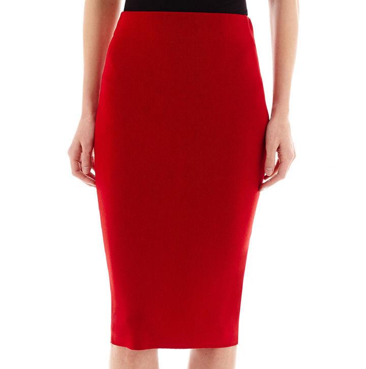 фото красная юбка-карандаш