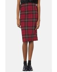 Красная юбка-миди в шотландскую клетку