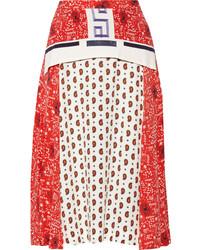 Красная юбка-миди с принтом