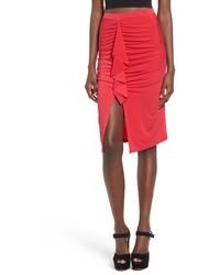 Красная юбка-миди с разрезом