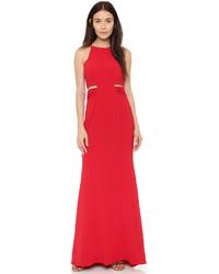 Женское красное вечернее платье с вырезом