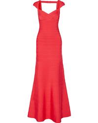Женское красное вечернее платье с вырезом от Herve Leger