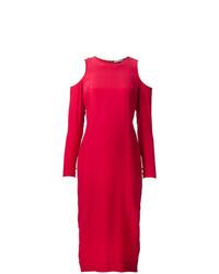 Женское красное вечернее платье с вырезом от Piamita