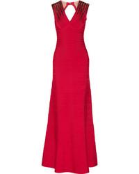 Женское красное вечернее платье с пайетками от Herve Leger