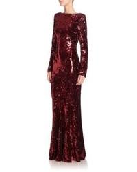 Женское красное вечернее платье с пайетками от Talbot Runhof