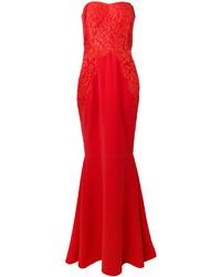 Женское красное кружевное вечернее платье