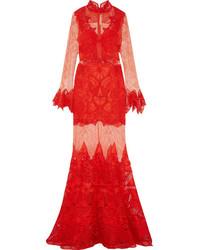 Женское красное кружевное вечернее платье от JONATHAN SIMKHAI