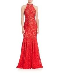 Женское красное кружевное вечернее платье от Jovani