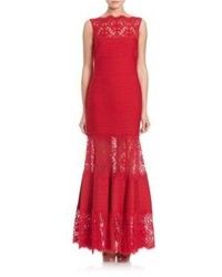 Женское красное кружевное вечернее платье от Tadashi Shoji
