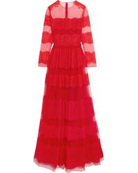 Женское красное кружевное вечернее платье от Valentino