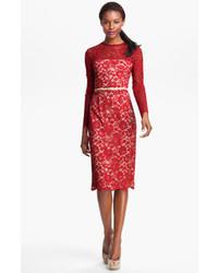 Красное кружевное платье-миди