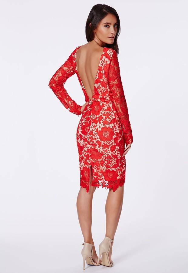 Кружевные красные платья купить в
