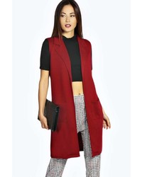 Красное пальто без рукавов
