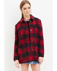 Женское красное пальто в шотландскую клетку от Forever 21