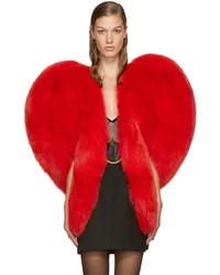 Женское красное пальто-накидка от Saint Laurent