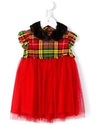 Детское красное платье в шотландскую клетку для девочке от Junior Gaultier