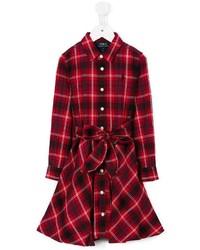 Детское красное платье в шотландскую клетку для девочке от Ralph Lauren
