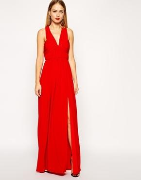 Платье красное макси с разрезом