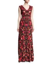 Женское красное платье-макси с вышивкой от Naeem Khan