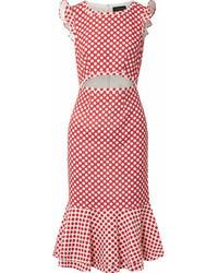 Красное платье-миди в горошек