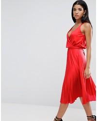Женское красное платье-миди со складками от Asos