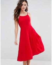 Женское красное платье-миди со складками от Boohoo