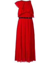 Женское красное платье-миди со складками от Giamba