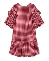 Красное платье прямого кроя в клетку от Fendi