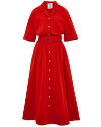 Красное платье-рубашка