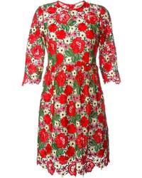 Женское красное платье с плиссированной юбкой с цветочным принтом от P.A.R.O.S.H.