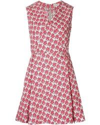 Женское красное платье с плиссированной юбкой с цветочным принтом от Suno