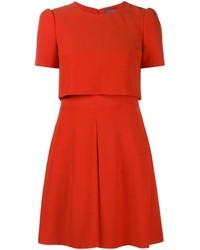 Женское красное платье с плиссированной юбкой от Alexander McQueen