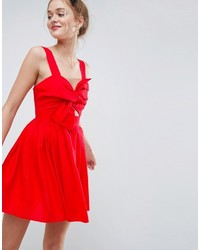 Женское красное платье с плиссированной юбкой от Asos