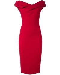 Женское красное платье-футляр от Chalayan
