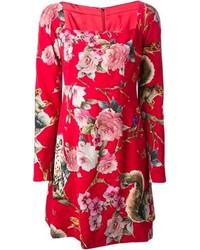 Красное повседневное платье с цветочным принтом